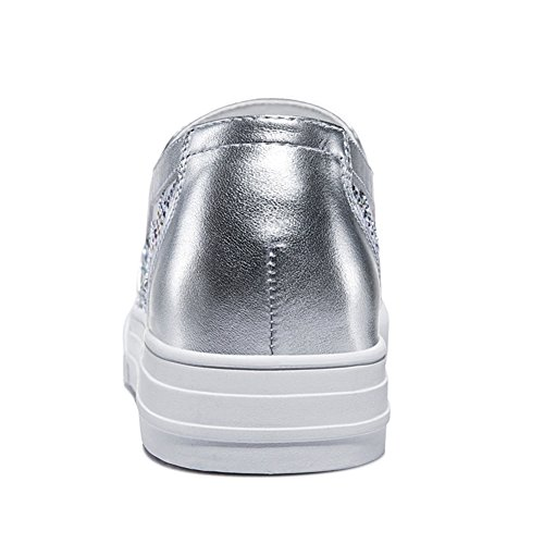 Shoes Women Chiffon Rubber U Flat MAC Sneakers Sole Breathable Round Silver Vamp Toe Shoes Casual Oq5Zw