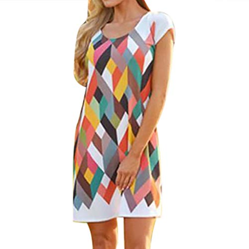 NANTE Top Loose Women's Dress O Neck Mini Dresses Short Sleeve Short Skirt Ladies Multicolor Diamond Printing Gown Sundress (Multicolor, XL)