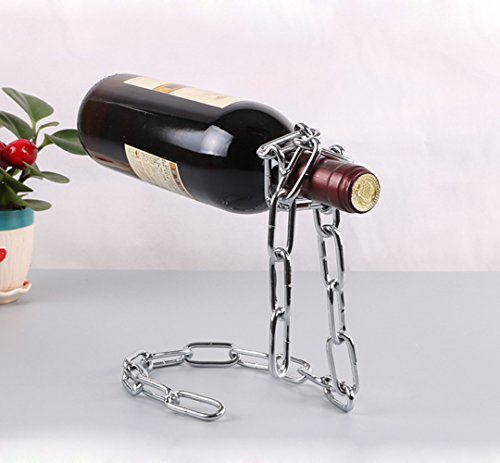 Wine Grapes Metal Bottle (Suspended Iron Chain Grape Red Wine Bottle Rack Euro Art Decor Stemless Leaning Corner Shelf Simple Stand Unusual Organizer Unique Holder Stylish Storage Metal Interesting Display Novelty(Silver))