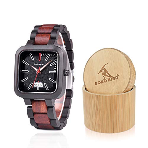 BOBO BIRD Mens Wooden Watches Lightweight Casual Sport Wristwatches Date Display Quartz Watch with Gift Wood Box for Men