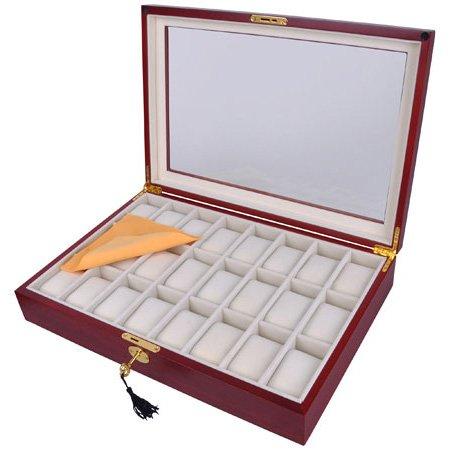 [해외]24 개의 시계 디스플레이 목제 케이스 - 유리 탑이있는 로즈 우드 매트 얼룩/24 Watch Display Wooden Case -Rosewood Matte Stain with Glass Top