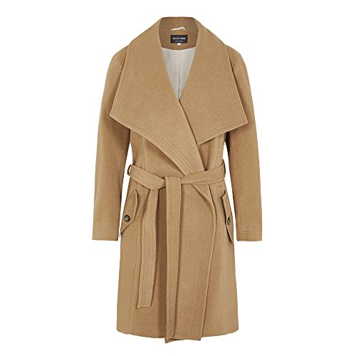 De La Creme - Camel Women`s Winter Wool Cashmere Wrap Coat with Large Collar Size 10
