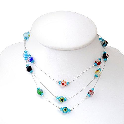 Chuvora Venetian Murano Glass Crystal Bead Multi-Colored Millefiori Flower 3-Strand Necklace, 17-19 inches - Crystal Venetian Necklace