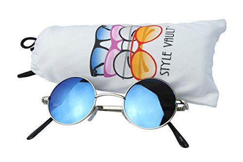 Kd244-vp Kids Childrens 3~12 year old Small Round Lennon metal Sunglasses (SRV Silver-blue - Sunglasses 12 For Year Olds