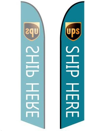 Double-Sided, Poles and Spike Base Included - Style 1 UPS 8ft Feather Banner