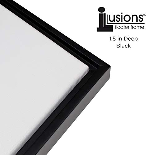 (Illusions Floater Canvas Frame for Mounting Finished Canvas Artwork, Paintings and Provides A Floating Display - [Black and Black -)
