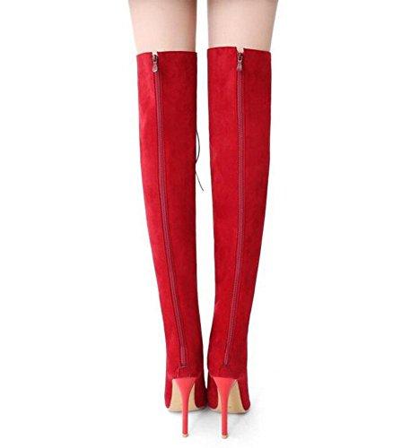 de altas Corte para Toe Bombas Peep Negro Botas GLTER Zapatos Sandalias red mujer Rojo largos la rodilla zapatos qIpWvw