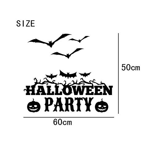 Genric Wall Stickers Pegatinas de pared 2017 Halloween Witch Bats Wall Sticker Window Home Decoration Decal Decor august3