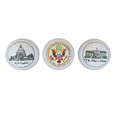 President Souvenirs DC Golf Balls - White House, Capitol, Great Seal - Great Stocking Stuffer!!