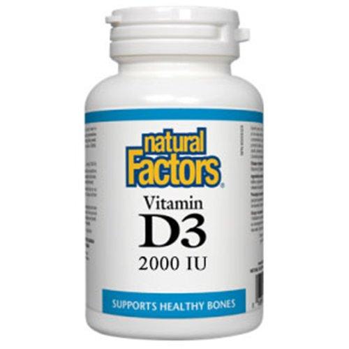 Vitamin D3 2000 IU, 90 Tablets, Natural Factors ()