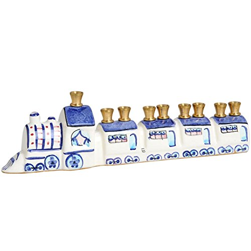 (Hand Painted Train Hanukkah Menorah with Brass Cups)