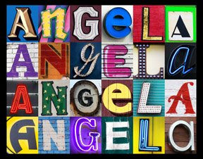 ANGELA Personalized Name Poster Using Sign Letters Large