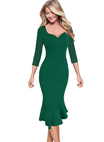 VfEmage Womens Elegant Vintage Cocktail Party Mermaid Midi Mid-Calf Dress 9210 GRN (Retro Keyhole Dress)