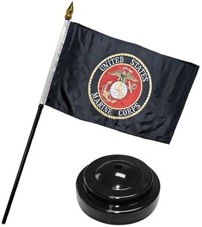 """Marines USMC Black Marine Corps Flag 4/""""x6/"""" Desk Set Table"""