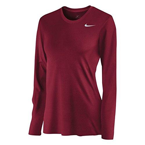 - NIKE Women's Dri-Fit Legend Long Sleeve T-Shirt,Crimson,Small