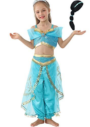 Lito Angels Girls Princess Jasmine Costumes Fancy Dress Up w/Hair Wig Size 8 ()