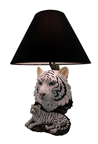 - White Lightning Sculptural Tiger Table Lamp w/Black Shade 19 Inch