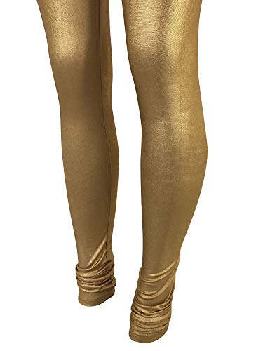 Gold or Silver Indian Shiny Women Legging Bollywood Dance Pants (3XL -Fits USA(12 & UP), Gold) (Indian Gold)