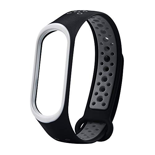 Kiorc Replacement Ventilate Sport Soft Wristband Wrist Strap for Xiaomi Mi Band3 (E) (Duty Adjustable Punch 1/2 Heavy)