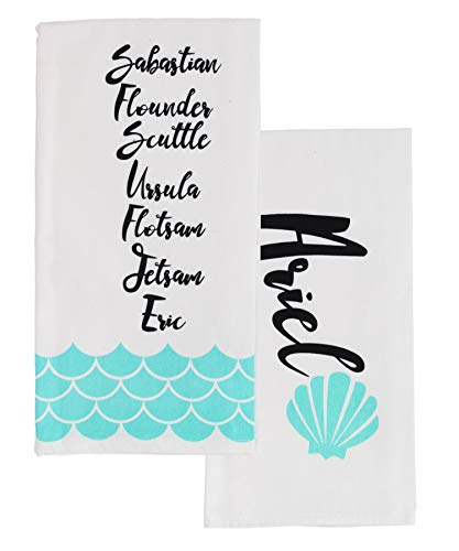 Merchandise Home - Little Mermaid Princess Ariel Themed Kitchen Towel Set – Set of 2, Cotton Towels - Ideal for Little Mermaid Disney Fans – Soft, Lightweight and Easy-Care - Perfect to Dry Dishes and Glassware at Home