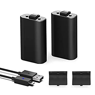 Xbox One Controller Battery Pack, 1200mAh Ni-MH Rechargeable Battery [2-Pack] for Xbox One/Xbox One X/Xbox One S Wireless Controller with 5ft Micro USB Charging Cable, Black