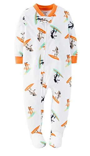 Carter's Baby Boys 1-Piece Snug Fit Pajamas Cotton PJs (18 Months, Ivory/Surf Dogs)