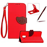 Strap Leather Case for Samsung Galaxy A8 2018,Red Wallet Flip Cover for Samsung Galaxy A8 2018,Herzzer Classic Unique Magnetic Leaf Buckles Design Full Body Card Slots Stand Folio Synthetic Leather Case with Soft Silicone