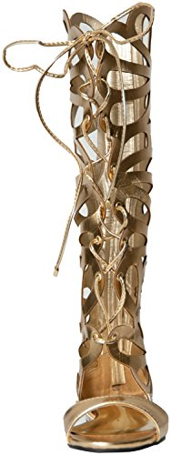 Breckelles Women's SOLO-15 Faux Suede Tall Gladiator Sandals Gold 7