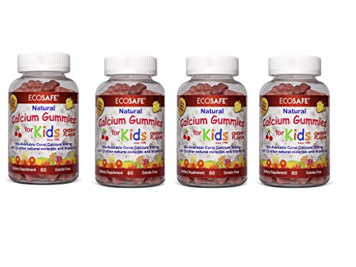 Coral Calcium Kids Gummy - Natural Cherry Flavor - Gluten-Free, Dairy-Free, Soy-Free and Gelatin Free - 300 mg of Calcium, and 500 IU of Vitamin D3-60 Gummies (4 Pack) ()