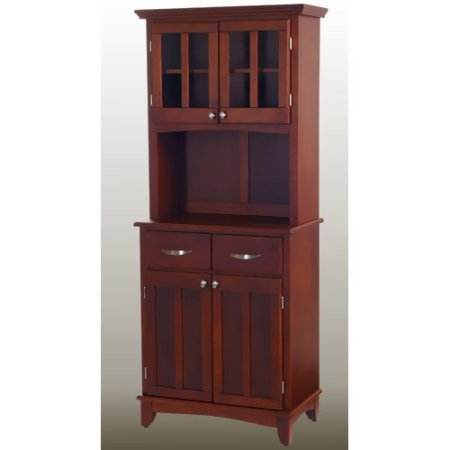 Buffet, Cherry Top, 2-Glass Door Hutch, 2 Wood Framed Cabinet Doors with an Adjustable Shelf, 2 Utility Drawers, Brushed Steel Hardware, 2 Wood Framed, Plexiglass Doors, Cherry + Expert Guide