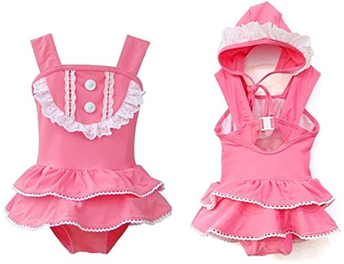 StylesILove Little Girl Ballerina Ruffle Lace Buttons Swimsuit and Hat 2-pc (1-2 Years)