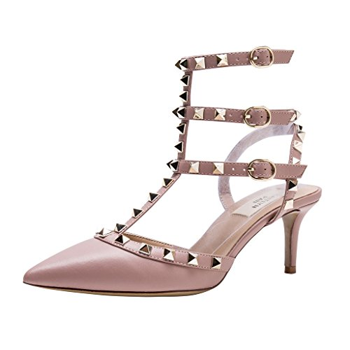 aa6121168b6 Kaitlyn Pan Pointed Toe Studded Slingback Kitten Heel Leather Pumps - Buy  Online in UAE.