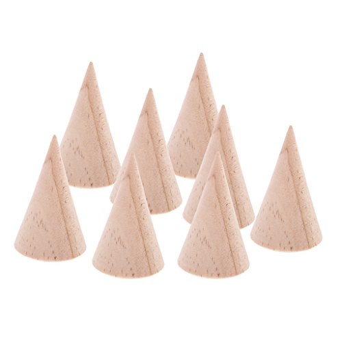 Jili Online 8 Pieces Unfinished Wood Display Ring Stand Crafts Unfinished 5cm DIY Jewelry by Jili Online (Image #3)