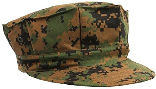 Fatigue Style Hat - Woodland Digital Camouflage Military Style Usmc 8 Point Fatigue Hat Cap