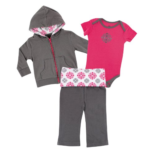 Yoga Sprout Hoodie, Bodysuit, Pants Set, Pink Medallion, 9-12 Months