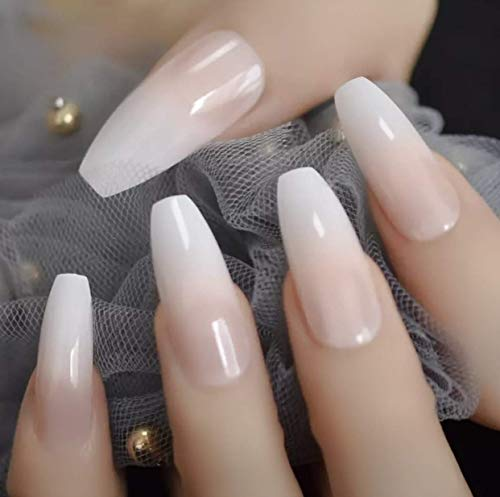 EDA LUXURY BEAUTY NATURAL NUDE PINK WHITE OMBRE FRENCH GLAMOROUS DESIGN Press On Full Cover Gel Glitter Shiny Acrylic Extreme False Nails Extra Long Ballerina Coffin Square Super Fashion Fake Nails
