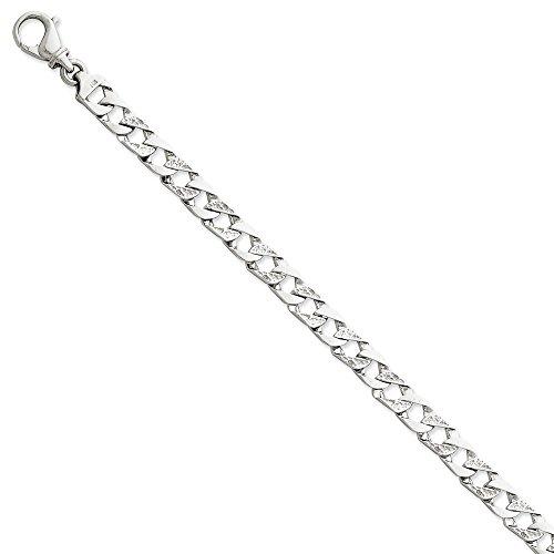 - 14k White Gold 8in 7.35mm Polished Fancy Link Bracelet