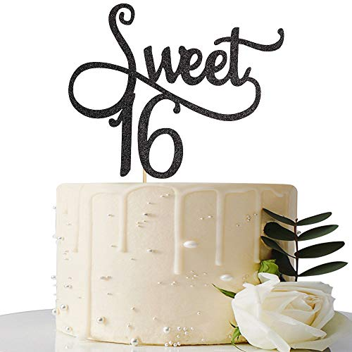 Black Glitter Sweet 16 Cake Topper -16th Birthday Cake Topper - Sweet Sixteen Party Themes Decoration Supplies]()