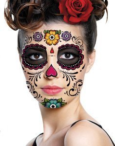 [Floral Day of the Dead Sugar Skull Temporary Face Tattoo Kit] (Easy Creative Halloween Costumes Adults)