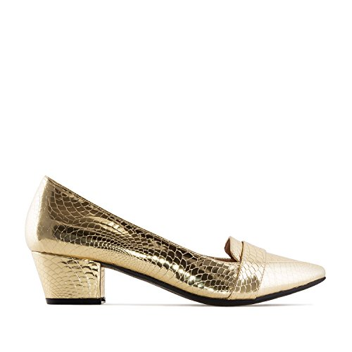 Andres Machado AM5211.Moccasin Heeled Shoes In Snake Printed Faux Leather.Womens Petite&Large Szs:US 2 To 5 -US 11.5 To 13/EU 32 To 35 -EU 43 To 45 Gold Snake Print zRd9f