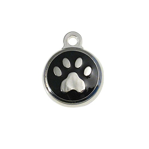 LuckyPet Pet ID Tag - TINY Paw Print Jewelry Tag - Dog & Cat Tags for the Smallest Pets - Custom Engraved on Back Side - Color: Black