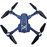 Owill 2.4G Pocket Mini Foldable RC Drone Quadcopter WiFi FPV 0.3M Wide Angle Camera/One Key Return (Blue)