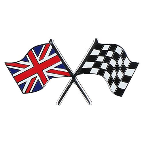 Union Jack GB/Checkered Crossed Flag Badge Emblem Self Adhesive Britain