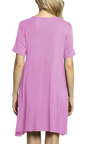 Casual Dress Swing Loose Sleeve Short Afibi T Lavender Women's Pockets Shirt Dresses XqAgypY