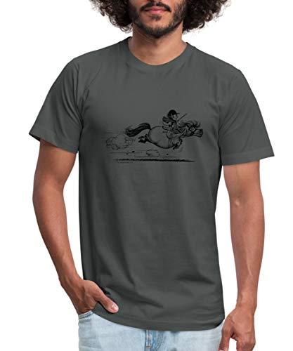 Spreadshirt Thelwell Cartoon Pony Sprint Men's Jersey T-Shirt, M, Asphalt ()