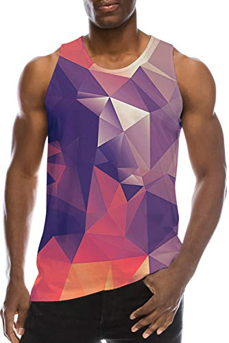 Vest Shirt for Young Men's Teen Boys School Student Tank Tops Sweatshirt 3D Print Red White Diamond Cool Gym Workout Undershirt Fancy Loose Fit Jersey Quick-Dry Ringer Running Surfing Casual Tshirts ()