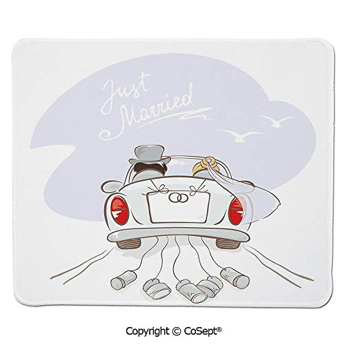 Ergonomic Mouse pad,Just Married Retro Hand Writing Bride and Groom in Car Cans Birds,for Computer,Laptop,Home,Office & Travel(7.87