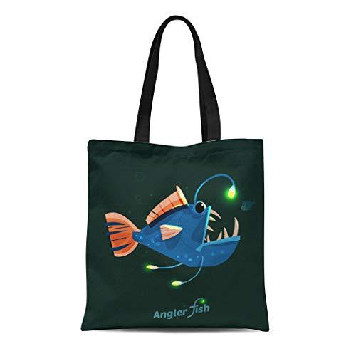 (Semtomn Canvas Tote Bag Shoulder Bags Scary Deep Angler Fish Character Sea Light Angry Creature Women's Handle Shoulder Tote Shopper Handbag)