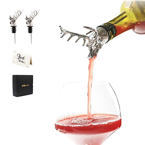 Wine Pourer Animal Wine Aerator Deer Head Decanter Spout for Wine Beer Bottle 2pcs Sliver Bottle Stopper Set Bar Accessories Wonderful Gifts for Party