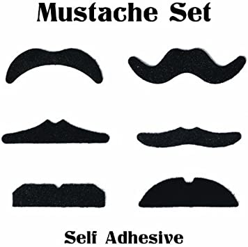 Mustache Orient Stule Black Faux Hair With Stick On Tape Costume accessory